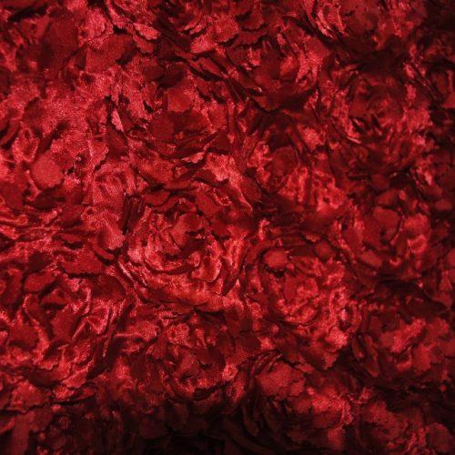 Red Sculptured Satin Roses on Satin Ground