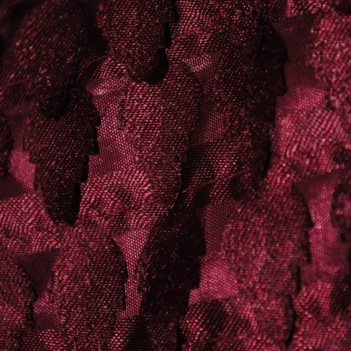 Burgundy miniature satin pine trees fabric - Fabric Universe