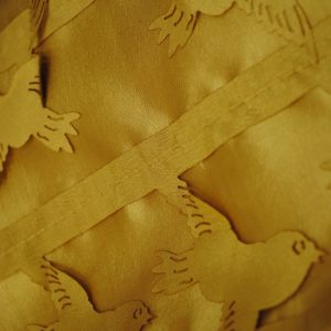 Gold love birds shiny polyester fabric - Fabric Universe
