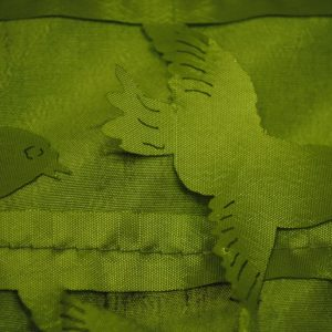 Green love birds shiny polyester fabric - Fabric Universe