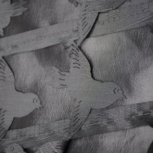 Silver love birds shiny fabric - Fabric Universe