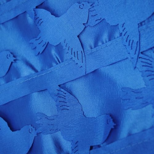 Blue love birds shiny polyester fabric - Fabric Universe
