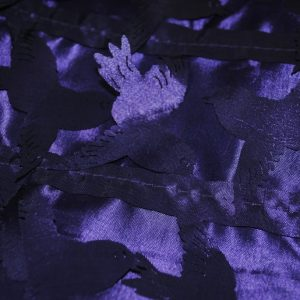 Purple laser cut love birds fabric - Fabric Universe