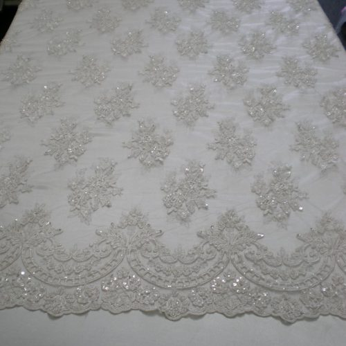 Off-white bridal lace fabric - Fabric Universe