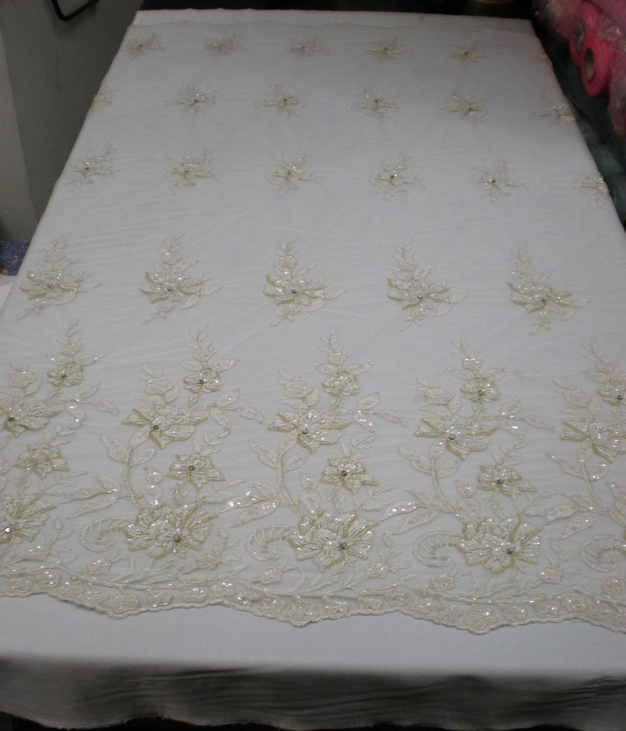 White Hand Beaded Embroidered Lace Mesh Fabric