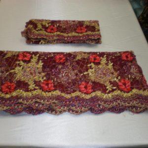 Burgundy hand-beaded lace fabric - Fabric Universe
