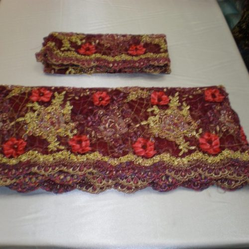 Burgundy hand-beaded lace fabric - Fabric Universe