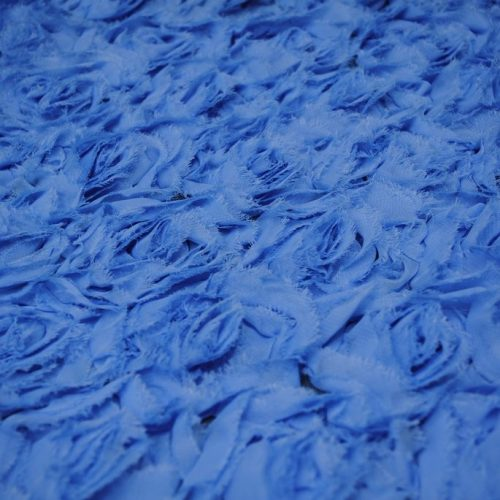 Blue large reorgette roses fabric - Fabric Universe