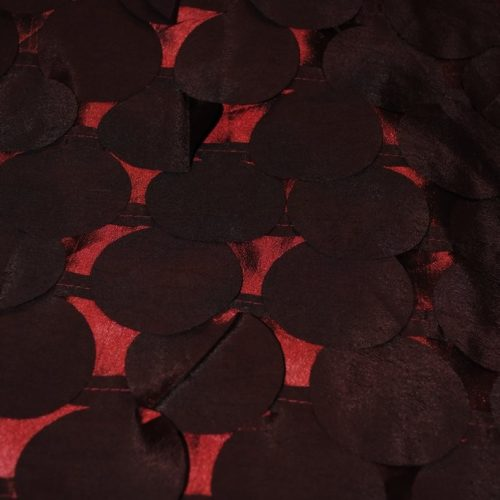 Laser-cut decorative circles fabric in Burgundy color