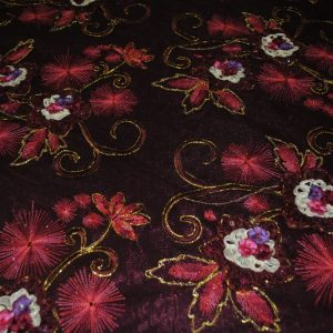 Burgundy Embroidered Mesh with Metallic Threads & Beads