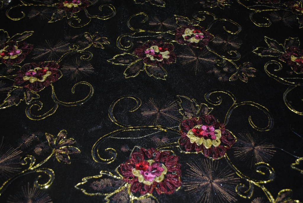 Black Embroidered Mesh with Metallic Threads & Beads