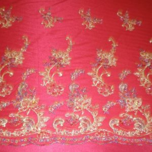 Red Beaded Lace with Golden Lurex by Fabric Universe