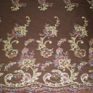 Brown Beaded Lace with Golden Lurex by Fabric Universe