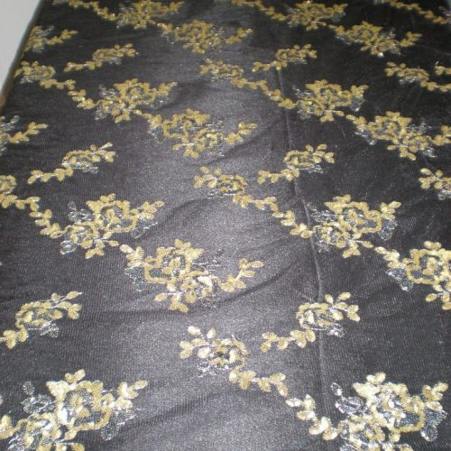 Black Flowers Made of Sequins on Mesh by Fabric Universe
