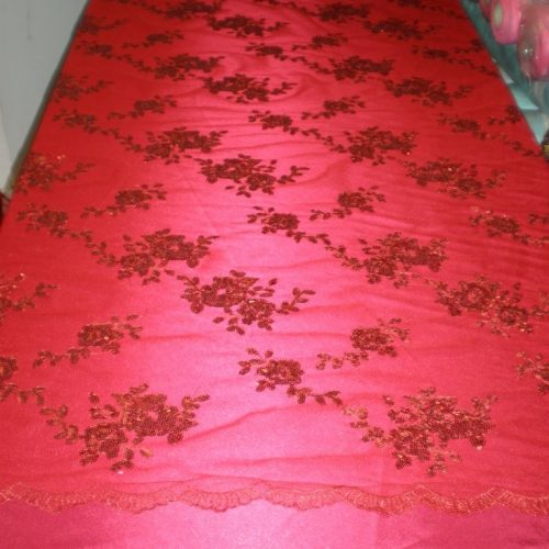 Red Flowers Made of Sequins on Mesh by Fabric Universe