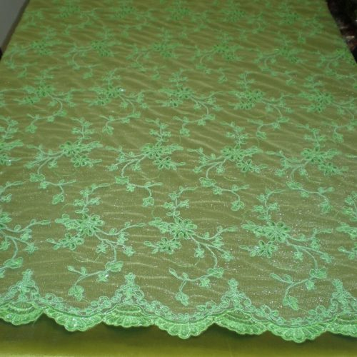 Lime-Green Beaded Lace with Cording by Fabric Universe.