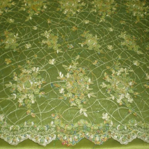 Green Hand Beaded Lace