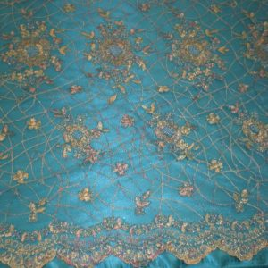 Turquoise Hand Beaded Lace