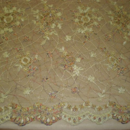 Gold Hand Beaded Lace