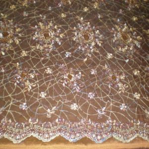 Brown Hand Beaded Lace