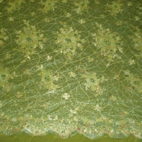 Green Hand Beaded Lace on Spider Mesh