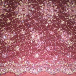 Burgundy Hand Beaded Lace on Spider Mesh