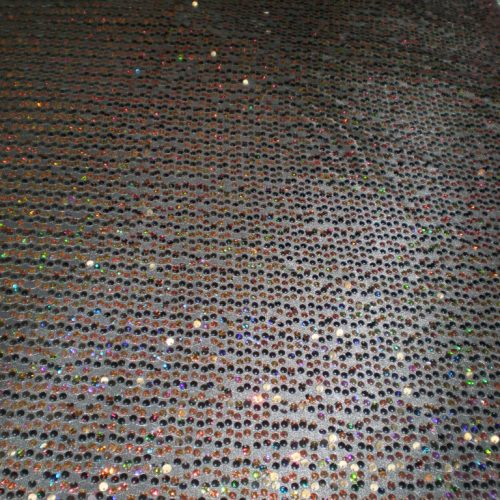 Black 7MM Hologram and Regular Sequins on Mesh