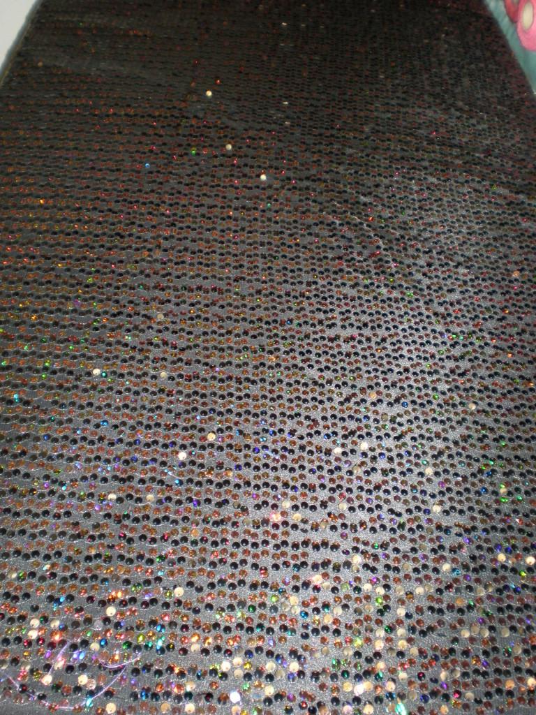 Black 7MM Hologram and Regular Sequins on Mesh