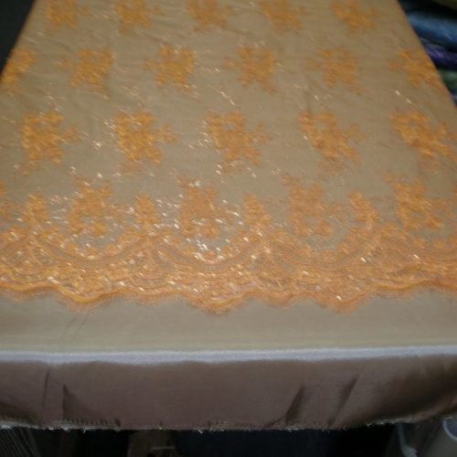 Orange Floral Lace with Sequins