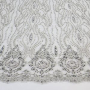 Silver Embroidered Beaded Sequin Mesh Fabric