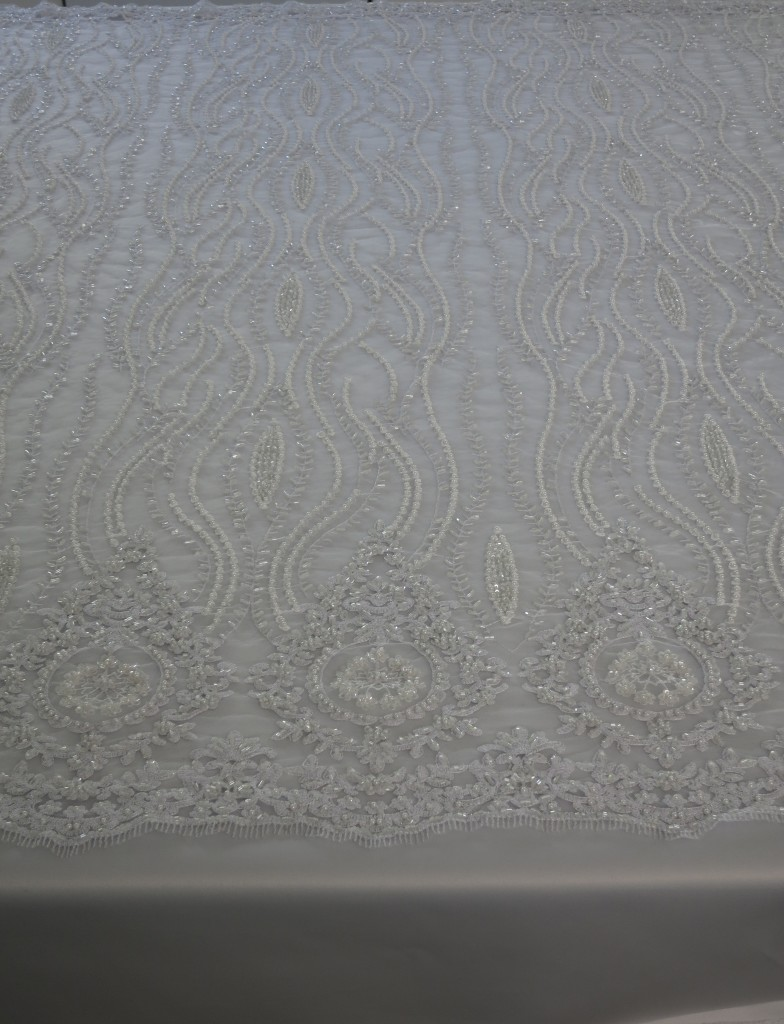 White Embroidered Beaded Sequin Mesh Fabric