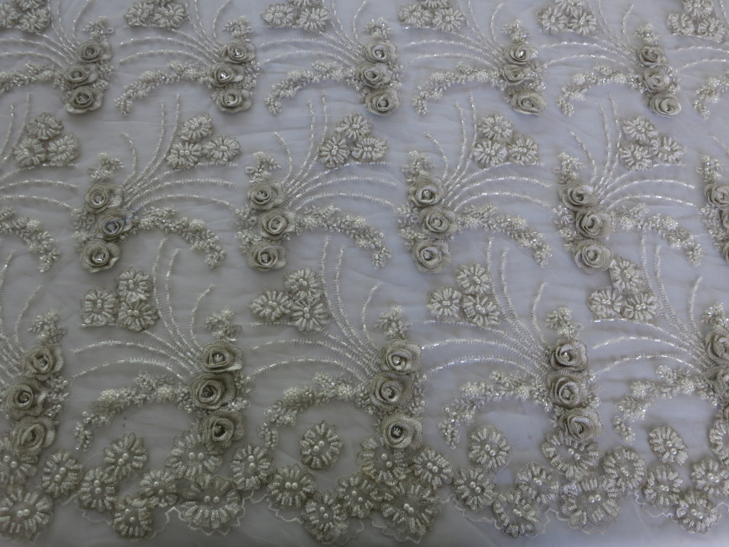 Off White Beaded Crystal Embroidered Mesh Fabric