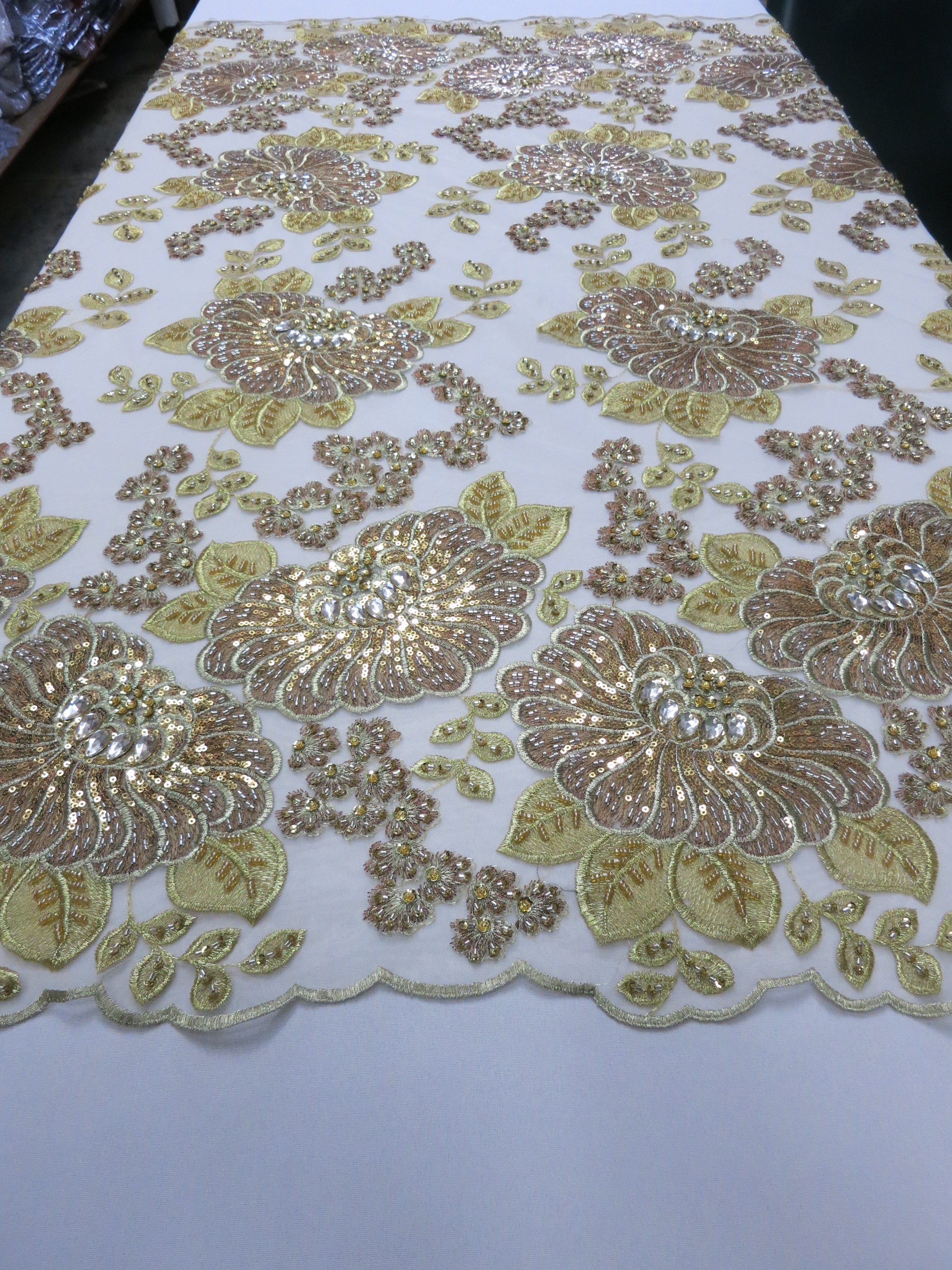 Gold Embroidered Beaded Lace Fabric