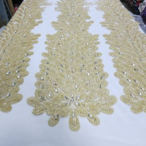 Champagne Embroidered Beaded Lace Mesh Fabric