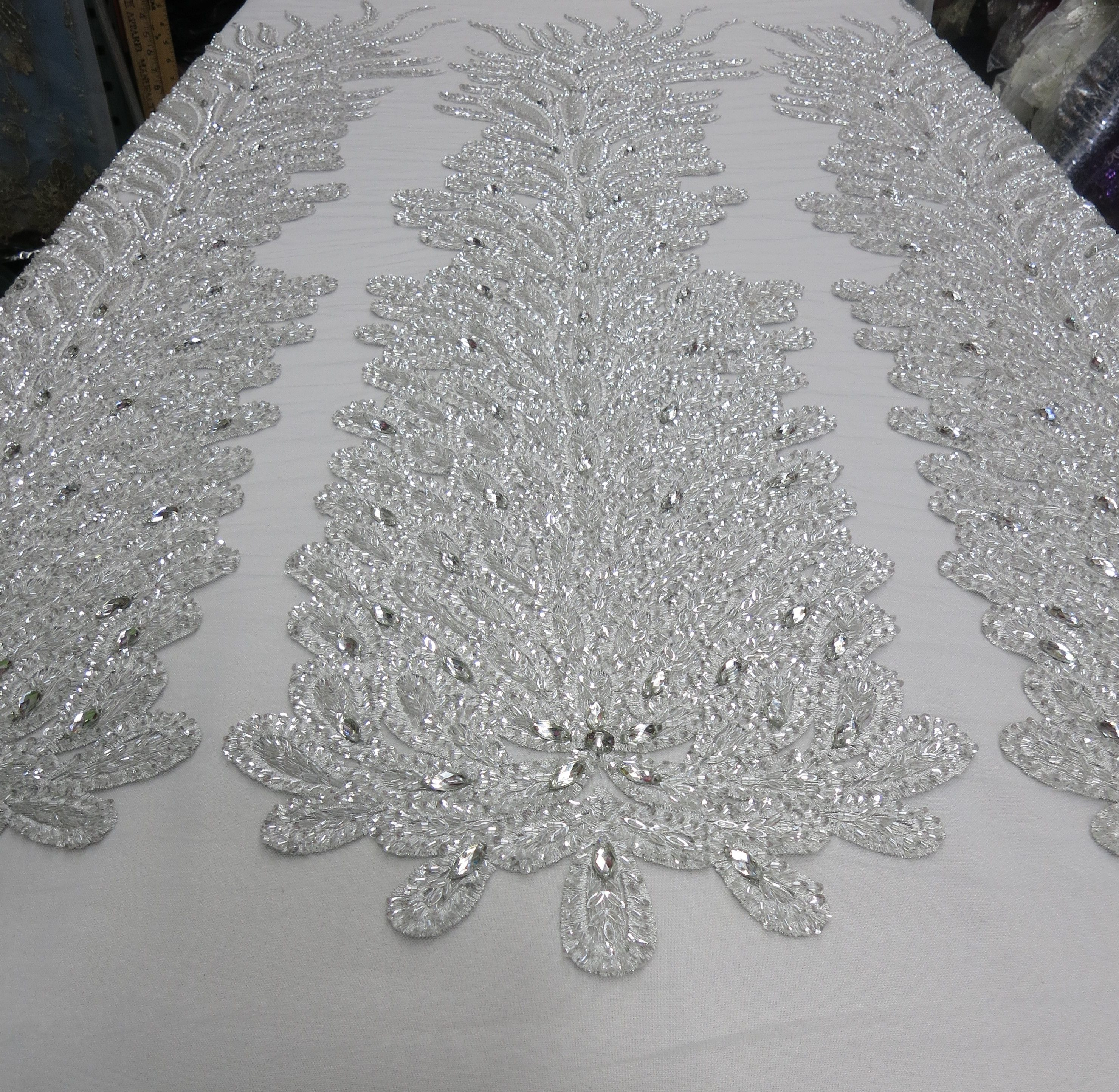 Silver Embroidered Beaded Lace Mesh Fabric with Crystal Beads