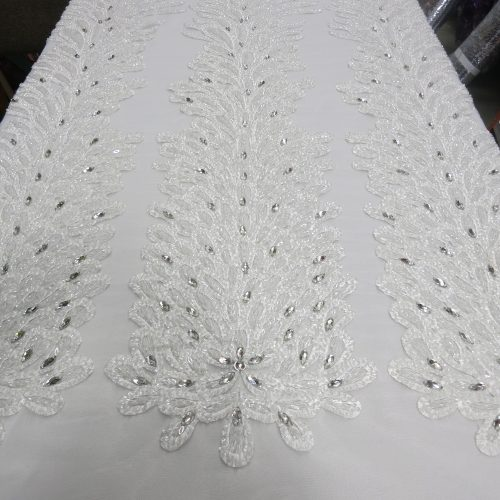 White Embroidered Beaded Lace Mesh Fabric with Crystal Beads