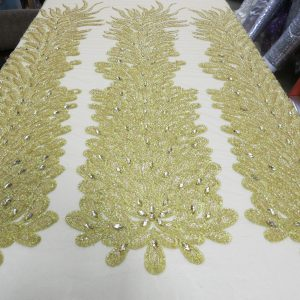 Gold Embroidered Beaded Lace Mesh Fabric with Crystal Beads