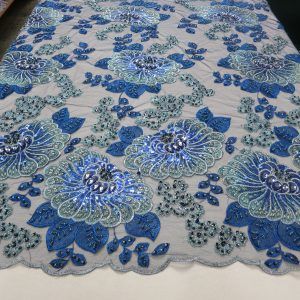 Blue Embroidery Beaded Lace Mesh