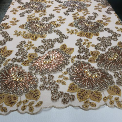 Bronze & Champagne Embroidered Beaded Lace Fabric