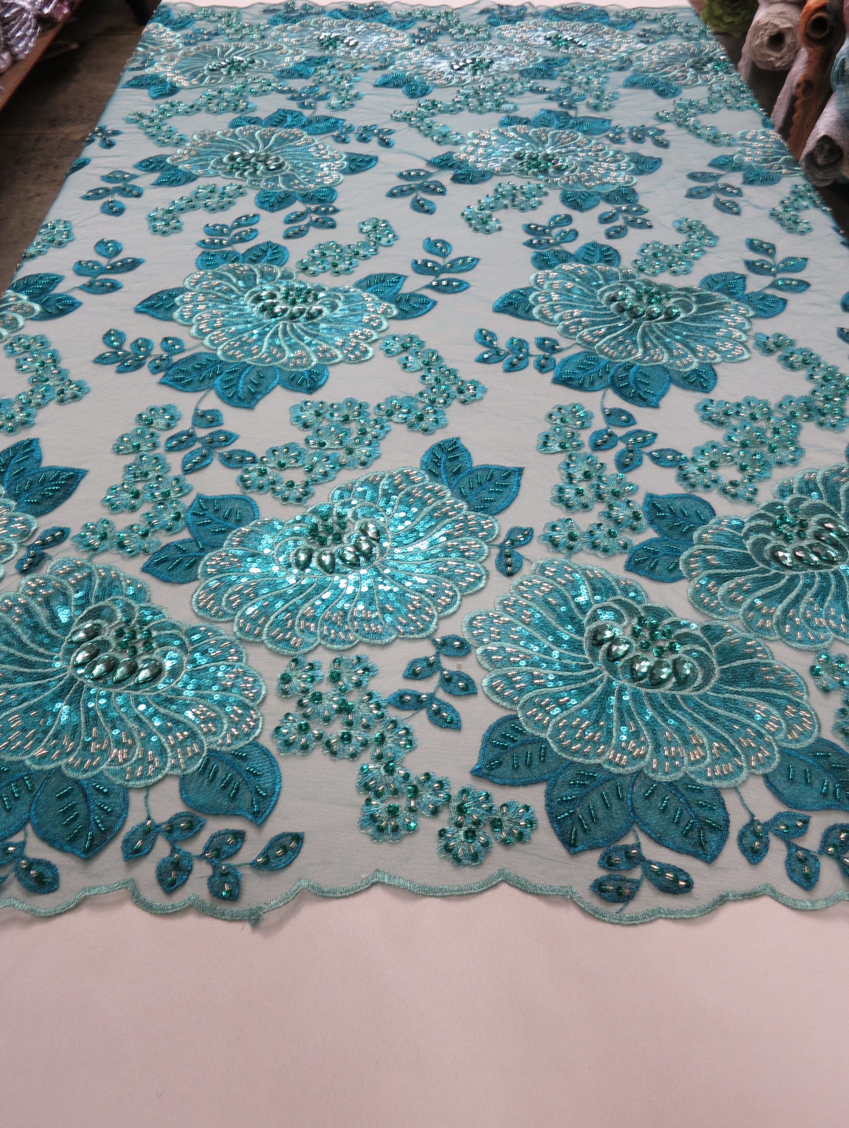 Turquoise Embroidered Beaded Lace Fabric