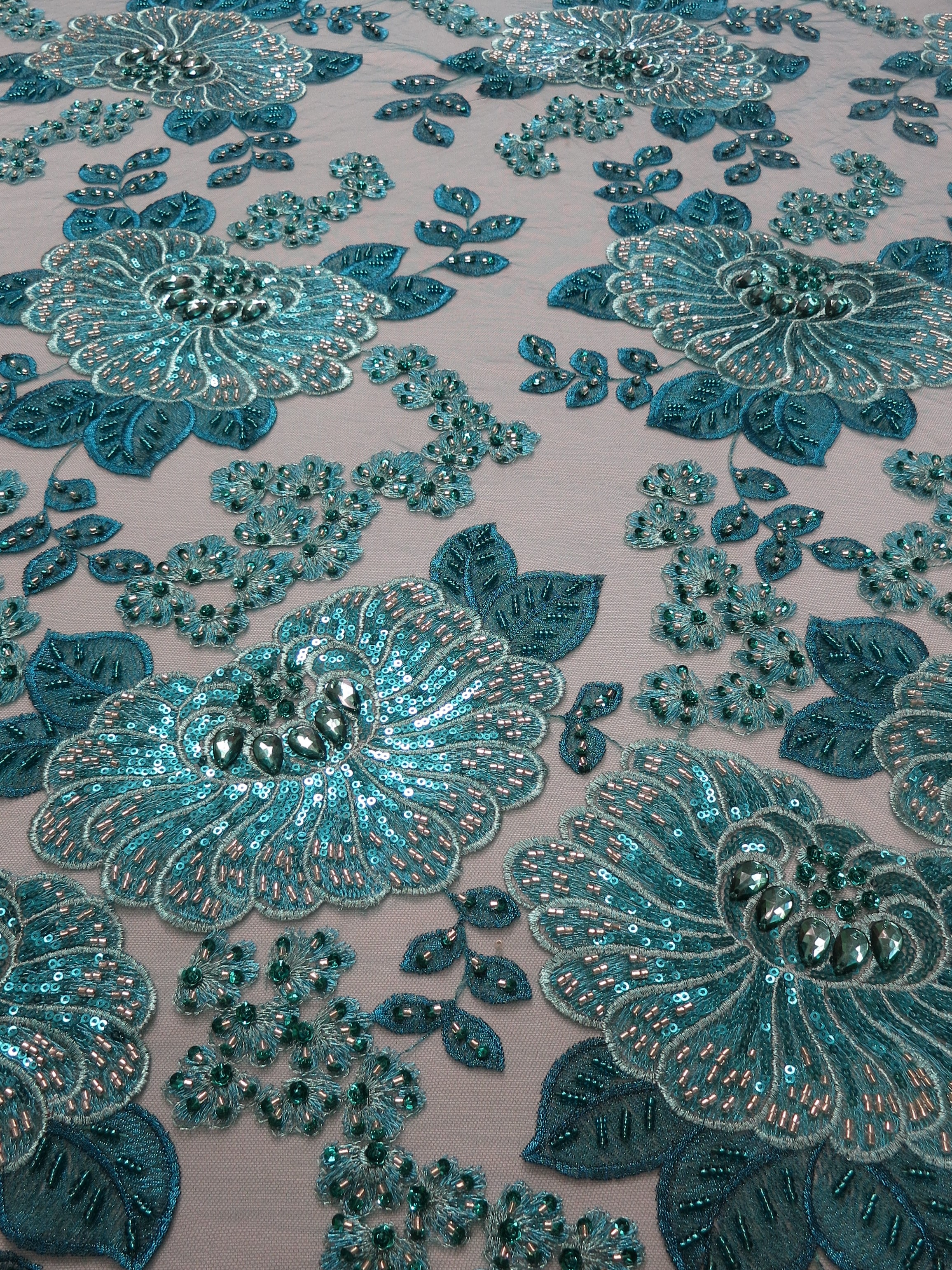 turquoise embroidered beaded lace fabric sequins