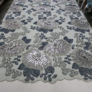 Silver & Charcoal Embroidered Beaded Lace Fabric