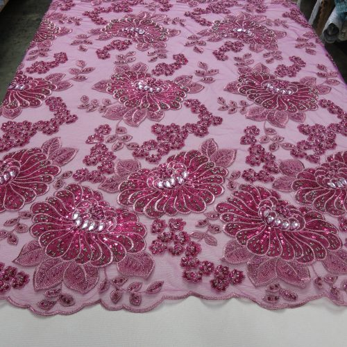 Fuchsia Embroidered Beaded Lace Fabric