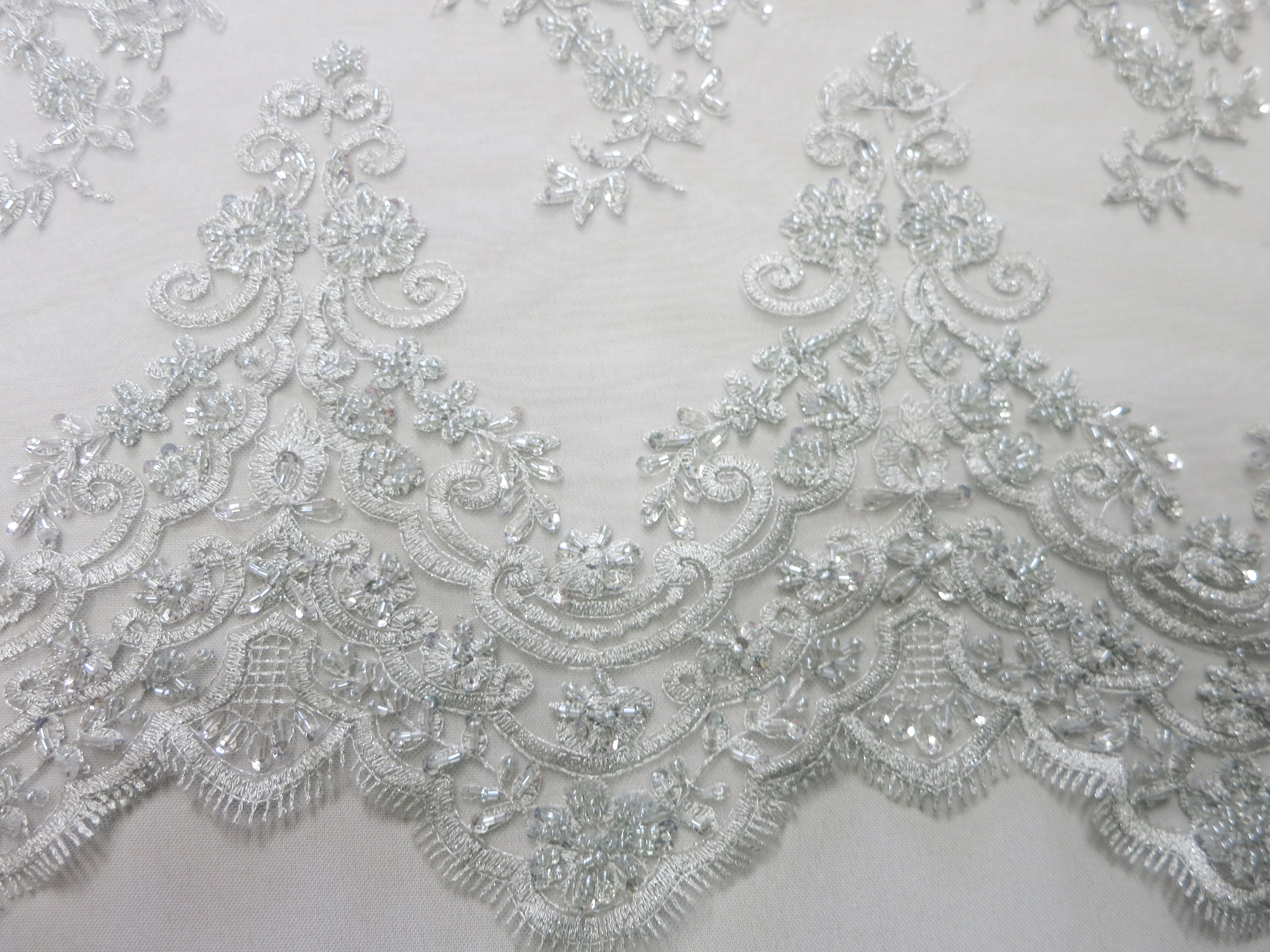 Silver Mesh With Embroidery Beaded Lace By Fabric Universe
