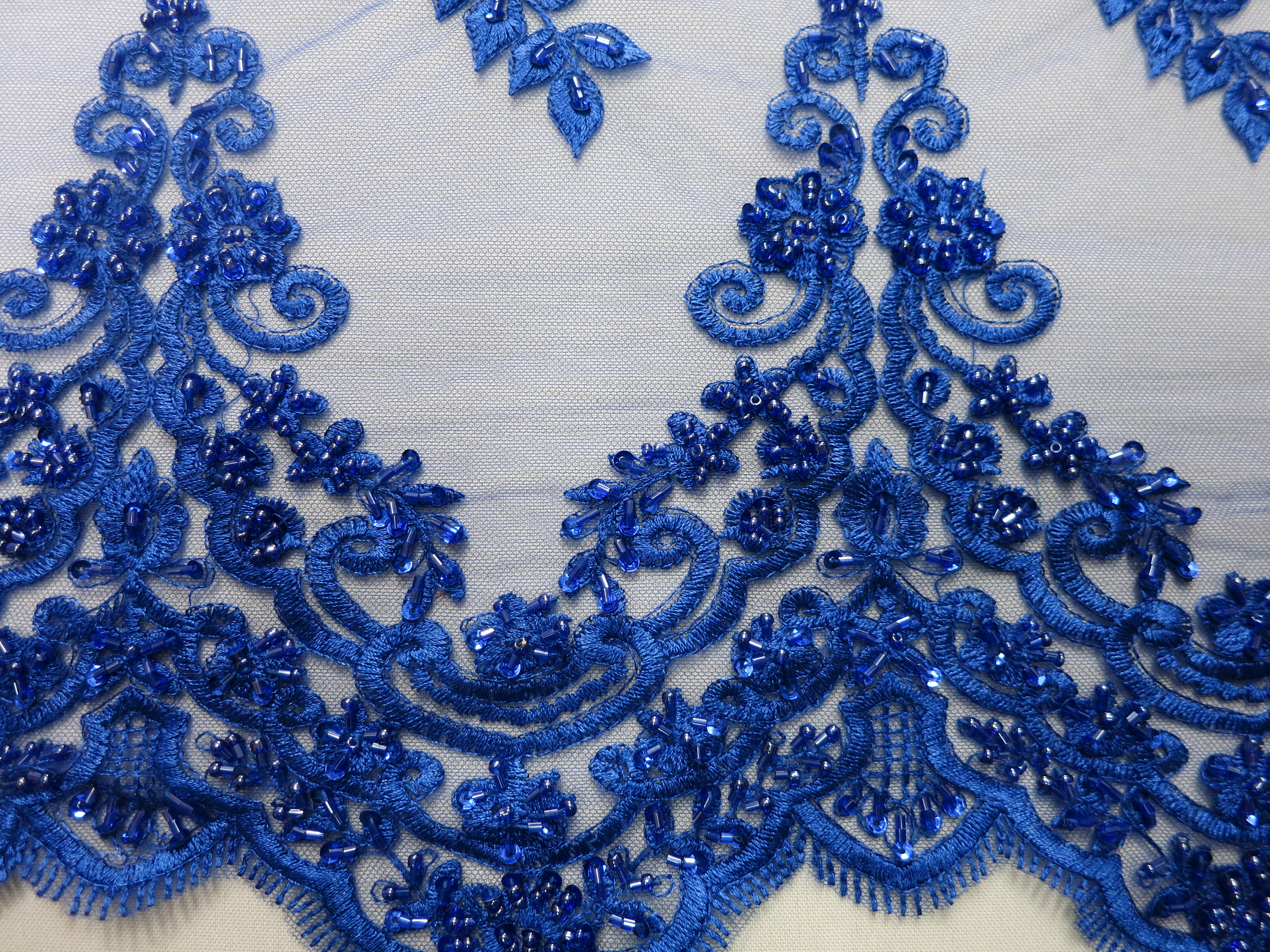 Royal Blue Mesh With Embroidery Beaded Lace By Fabric Universe