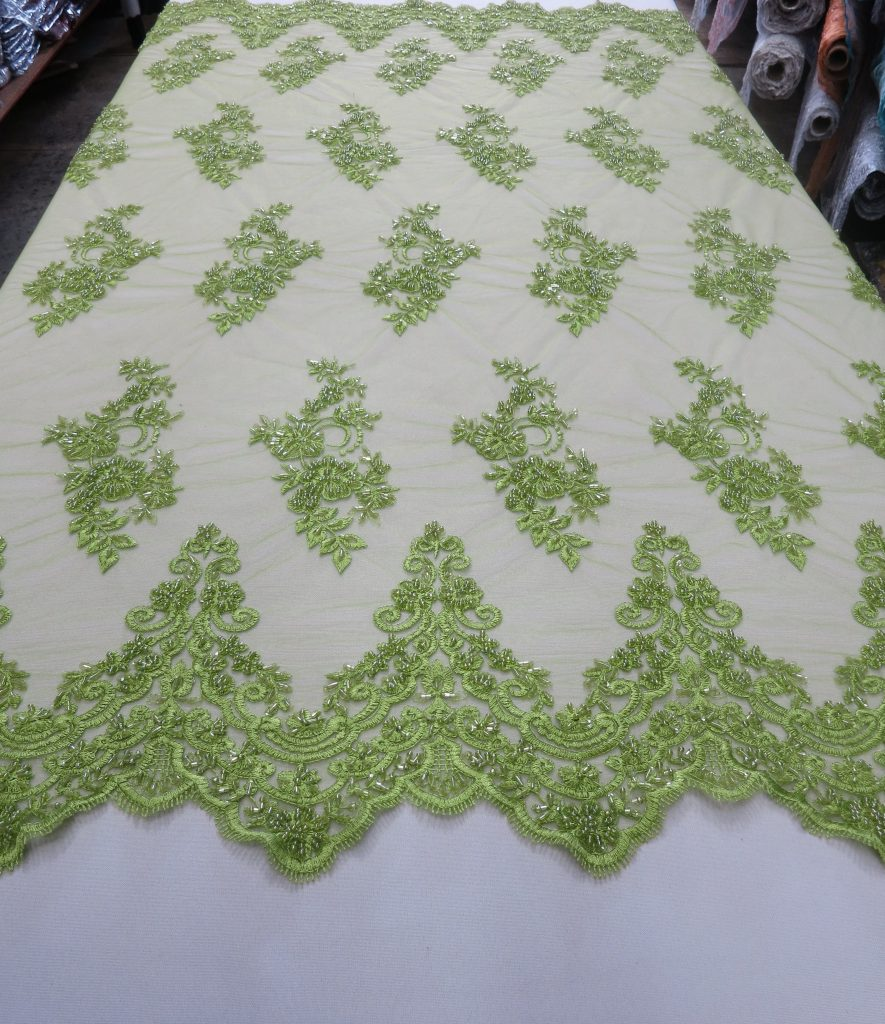 Lime Green Hand Beaded Lace Fabric Garden Floral Flowers Embroidered on Green Mesh Fabric Sold by the Yard Gown Quincea\u00f1era Bridal Prom