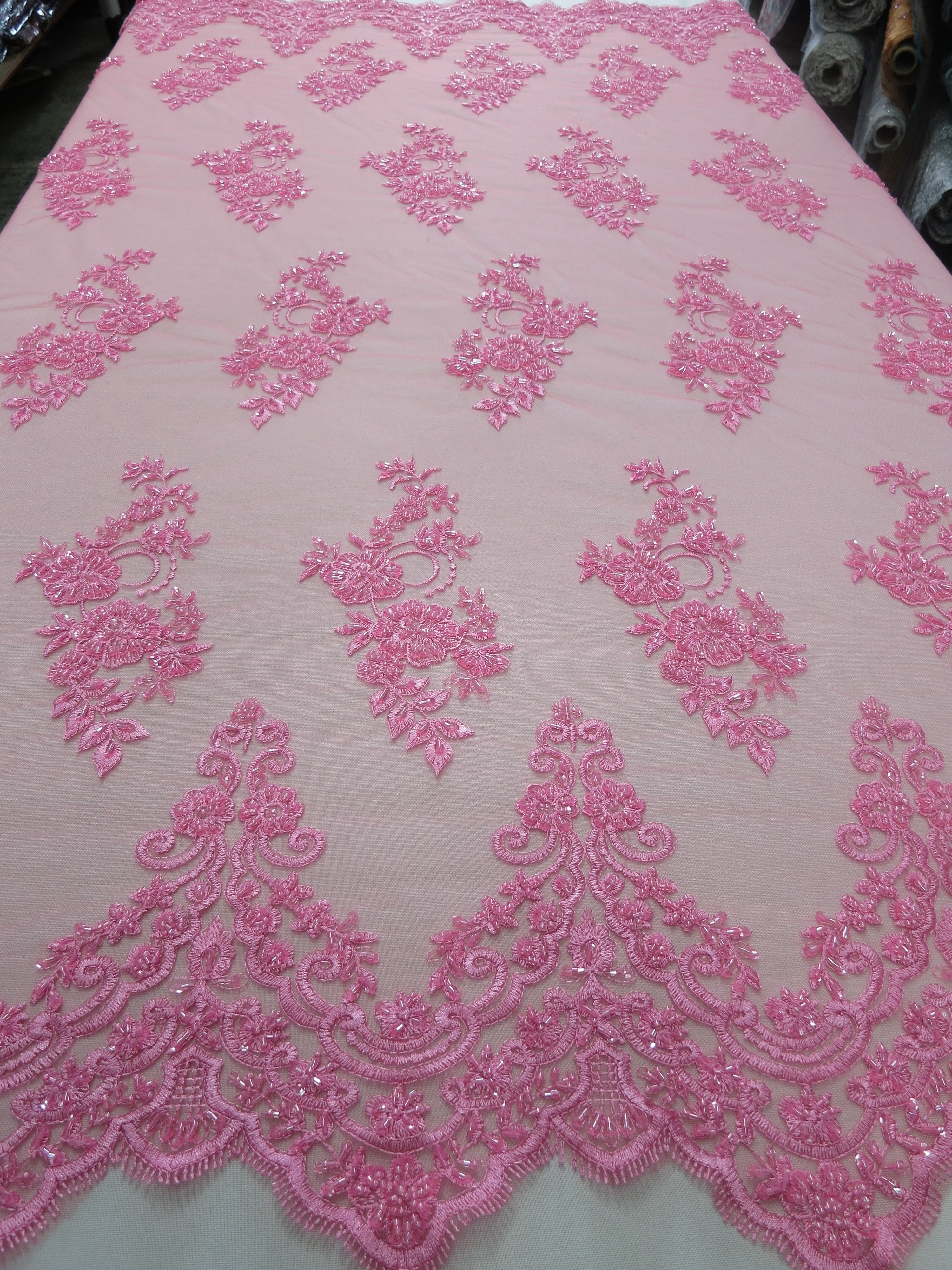 pink mesh with embroidery beaded lace by fabric universe