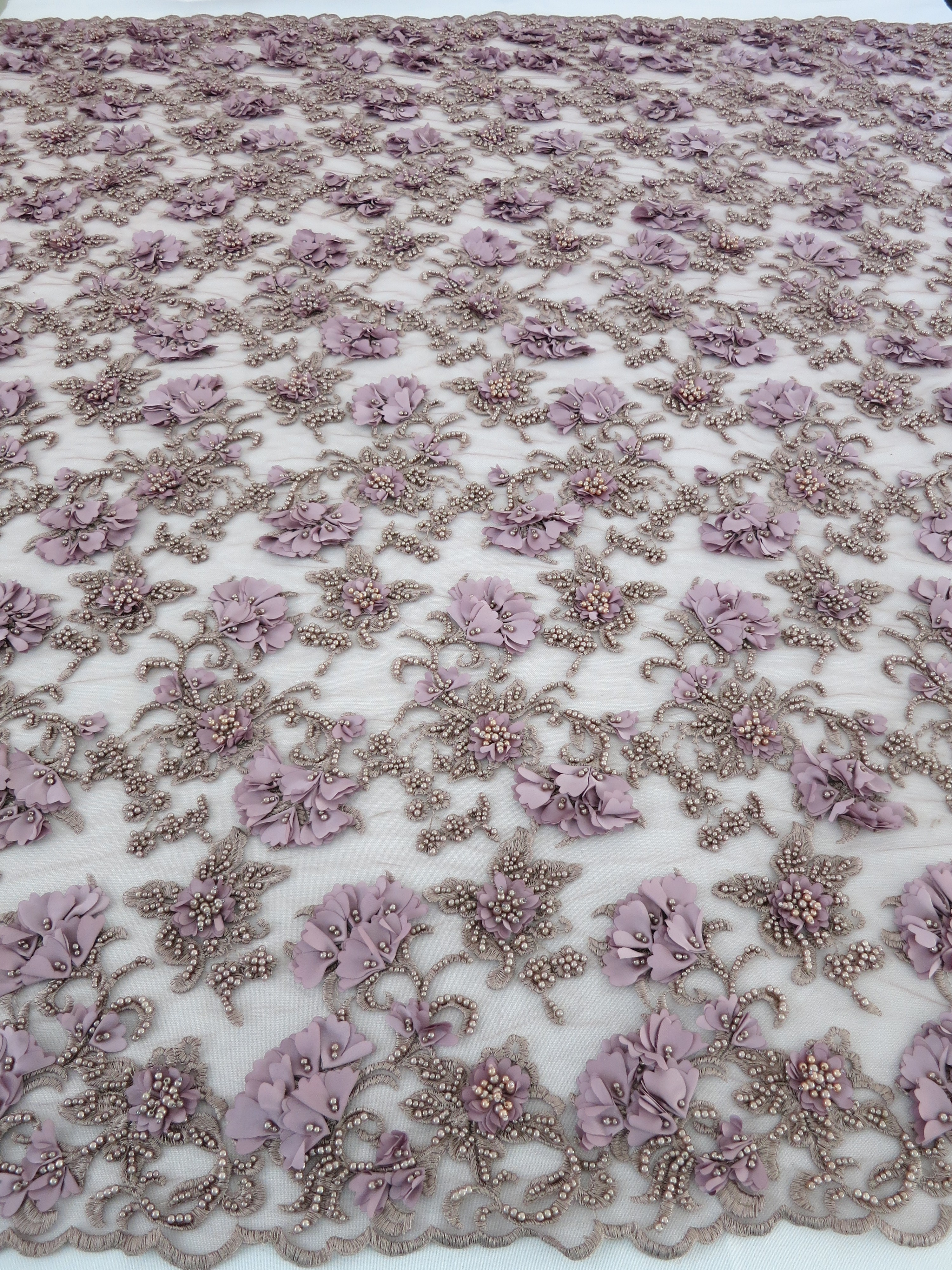 Lilac floral beaded embroidered lace mesh fabric