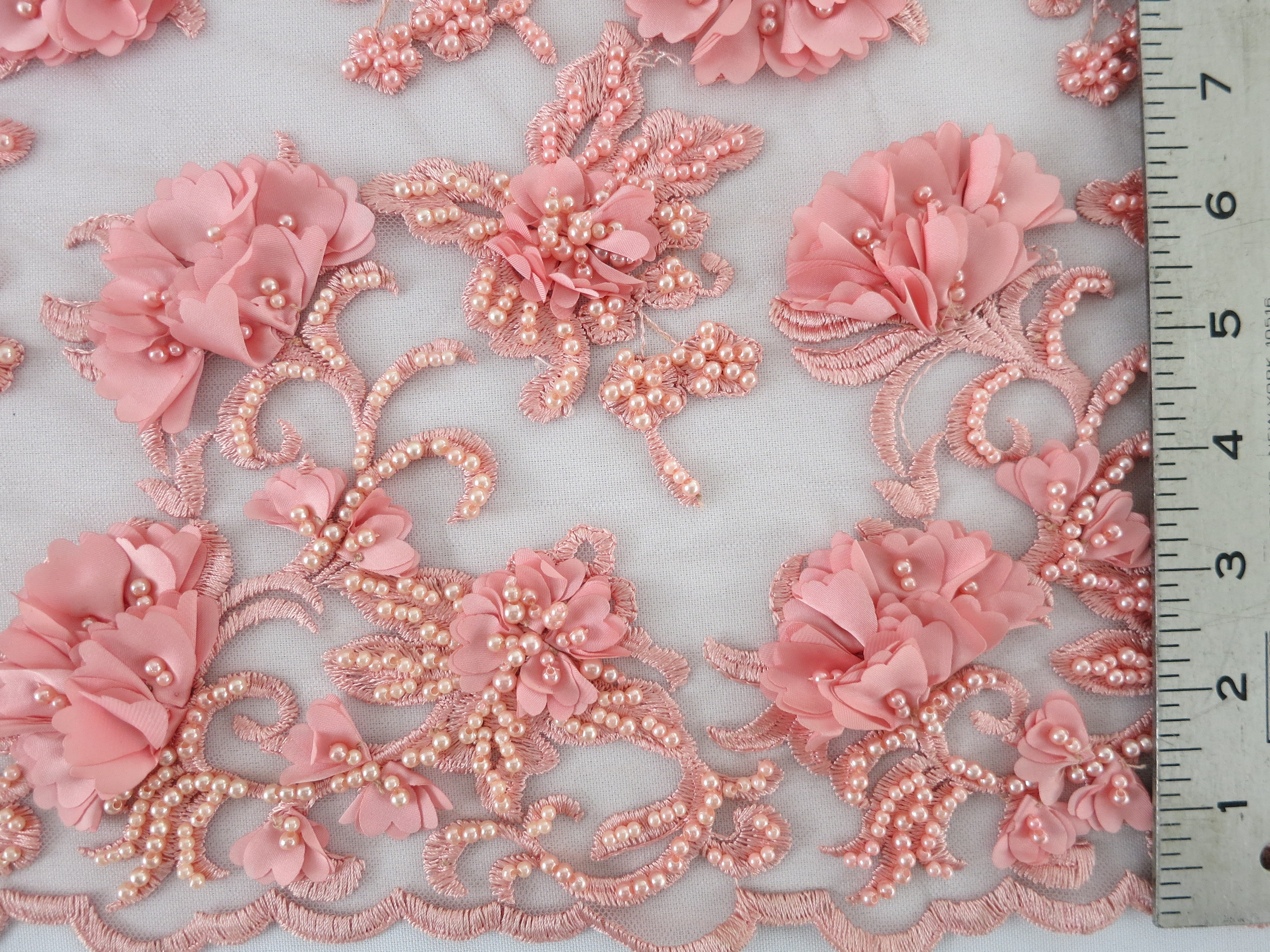 Coral floral beaded embroidered lace mesh fabric