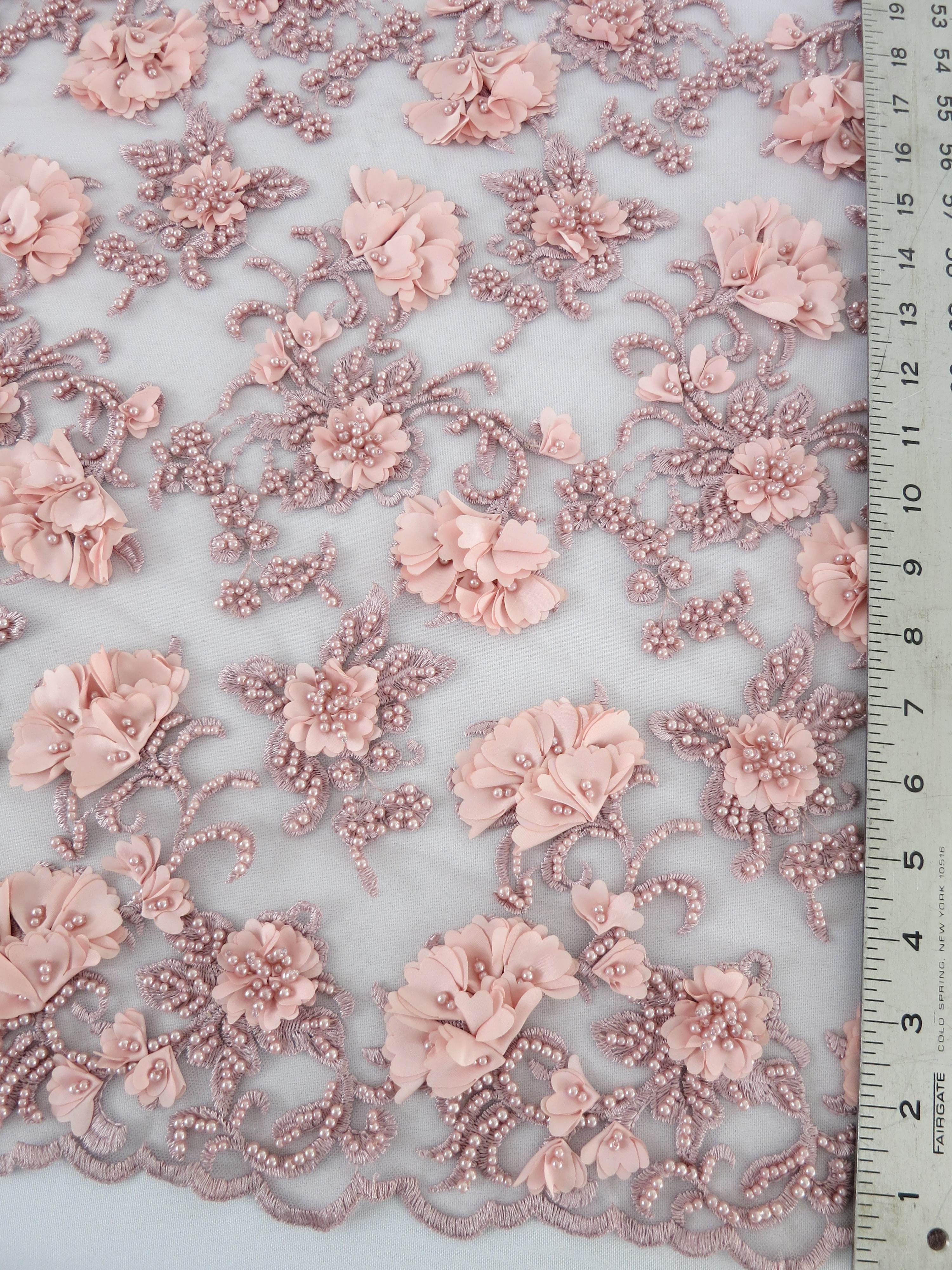 Pink floral beaded embroidered lace mesh fabric